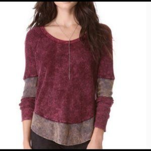 NWT Free People Burgundy waffle knit long sleeve
